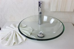 Wholesale Transparent Glass Sink - Small fresh glaucoma transparent bowl Tempered Glass Vessel Sink With Faucet Set N-525