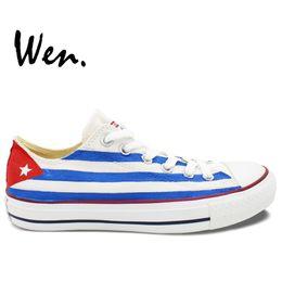 Wholesale Paint For Shoes - Wholesale-Low Top Flag Of Cuba Original Design Custom Painted Shoes Men Women's Sneakers For Boys Girls Hand Painted Art Wen