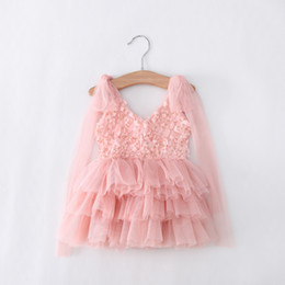 Wholesale Rosette Wedding Gowns - EMS DHL Free Shipping toddler's Little Girl's Lace Casual kids dress Princess Party Dress Rosette Dress 3 Colors 90-130
