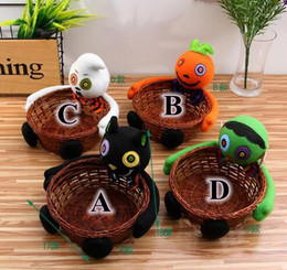 Wholesale Halloween Bowling - New Holloween Candy Holder Storage Boxes Smile Bamboo Pumpkin Bucket Basket Halloween Party Decor Fruit Bowl Bins Container CCA7532 200pcs