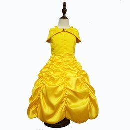 Wholesale Fairy Costumes Baby - Girls Princess Belle Dress Gorgeous Party Dress Kids Girls Tulle Tutu Lovely Skirts Costume Baby Girls Formal Dress