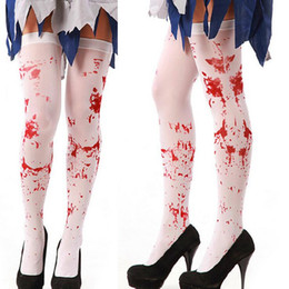 Wholesale Cosplay Socks - Scary Costumes Masquerade Bloody Cosplay Tights Easter Party Socks Bloody Nurse Stockings for Halloween free shipping