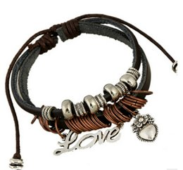 Wholesale Hand Rosaries - Love Heart Leather Bracelet Hand Knitted Dark Brown Rosary Bracelet Best Selling Korean Bracelet Free Shipping