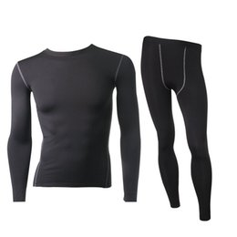 Wholesale Thermal Warm Tights - Wholesale-Men's Thermal Fleece Underwear Set Outdoors Sport Compression Tight Top&Bottom Hot-Dry Technology Surface Warm Lined Long