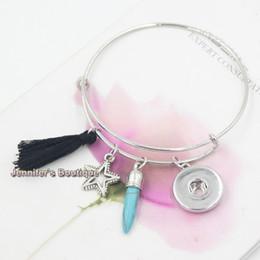 Wholesale Rivets Tassel Bracelets - New Fashion Interchangeable Jewelry Style Bohemian Turquoise Rivet Black Tassel Adjustable Wire Snap Bangles&Bracelets For Women Jewelry