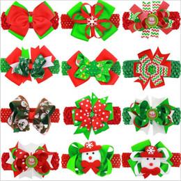 Wholesale Christmas Ribbon Bands - Christmas Headbands Ins Baby Xmas Head Bands Girls Santa Claus Ribbon Bow Hairpin Kids Christmas Party Headwear Headdress Xmas Gift B2884