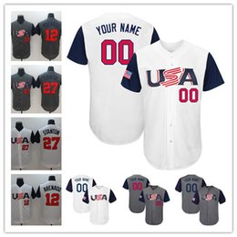 Wholesale Orange Team Names - Mens Womens Youth 2017 Team USA Custom Jones Arenado Stanton White Gray Stitched Any Name Number Cool Base Jerseys S-4XL