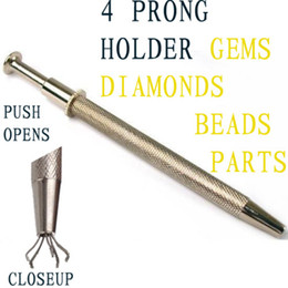Wholesale Held Products - Wholesale Free Shipping PRONG HOLDER 4 Pronged Diamond Gem Bead Clip Holding Tweezer Jewelry Display Rack Jewelry Product Loose Clip