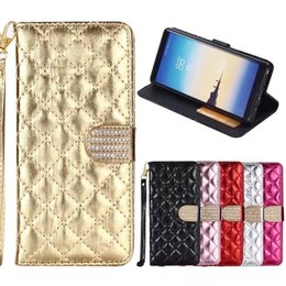 Wholesale Diamond Sheep Leather Case - For iphone X 8 7 plus Soft TPU inner Wallet Leather Case Bling Sheep Diamond Photo Frame Leather Pouch Case for Galaxy s8