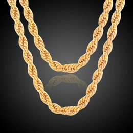 Wholesale Twisted Rope Chain Necklace Women - New Arrivals Fashion Jewelry Bijoux 18K Yellow Gold Plated Twisted Chain Necklace for Women Men 3mm 4mm Width 60cm 24in