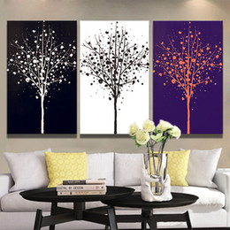 Wholesale Black White Wall Decor - 30*40 40*50cm Wall Art Paintings Pure Hand Painted Black And White Tree Patterns Unframed Paints For Living Room Dining Room Wall Decor