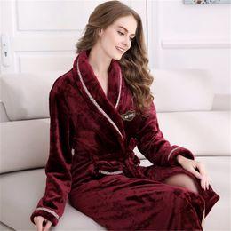 Wholesale Ladies Long Xl Nightgowns - Wholesale- Plus Size Winter Women's Flannel Robe Red Wine Ladies' Sleepwear Royal Bathrobe Long Bath Robes Nightgown L XL XXL WQL001_1353