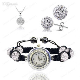 Wholesale Disco Pave Watch - Wholesale-Crystal Watch Sets Pendant+Bracelet+Earrings Crystal Jewelry Watch Sets Micro Pave CZ Disco 10mm Beads Crystal Watch Sets