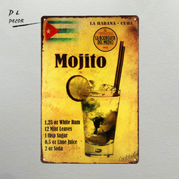 Canada DL-Mojito cocktail Affiche en métal Retro Man cave Pub Home Craft Décor Vintage Wall art Sign Offre