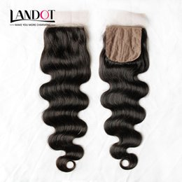 Wholesale Burgundy Lace Wigs - Silk Base Closure Brazilian Malaysian Peruvian Indian Cambodian Virgin Human Hair Lace Closures Body Wave Free Middle 3 Part Hidden Knots