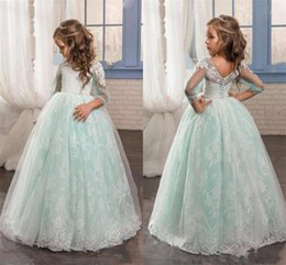 Wholesale Mint Green Flower Girl Dresses - Romantic Mint Flower Girls Dresses for Weddings Lace Poet 3 4 Long Sleeves First Communion Dresses Back Covered Button Girls Pageant Gowns
