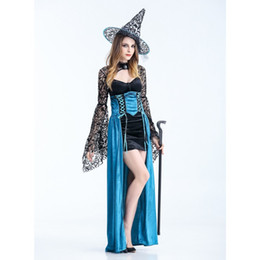 Wholesale Masquerade Queen Costume - 2016 New high quality Sexy Women Vampire Costume Halloween queen demon Witch Dress Masquerade Party Maleficent Cosplay clothing