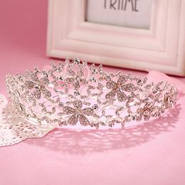 Wholesale Hair Bridal Big Tiaras - High Quality Big Silver Wedding Bridal Crown &Tiara Romantic Design Shining Crystal Rhinestone Hair Jewelry For Bride Party