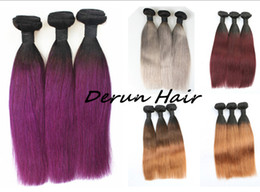 Wholesale Natural Grey Hair - Ombre Hair 1B Grey 1B Purple 1B 4 30 1B 30 1B 99J Brazilian Peruvian Indian Malaysian Hair Wefts 3pcs lot Staight Human Hair