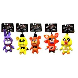 Wholesale Ring Teddy - Five Nights at Freddy's plush toys Keychains FNAF Teddy bears foxes duck rabbit key ring pendant 14cm EMS shipping C792