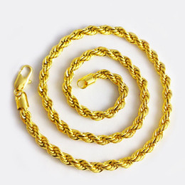 """Wholesale Twisted Rope Chain Link - Long Rope Chain 18k Yellow Gold Filled Twisted Knot Necklace Solid Jewelry For Men 24"""""""