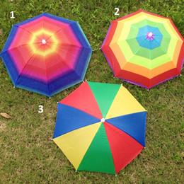 Wholesale Umbrella Frames - Umbrella Hat Elastic Headband Metal Frame Rainbow Cap Rain Sun Umbrella Wearing Head Hats For Clamping Fishing ZA0514