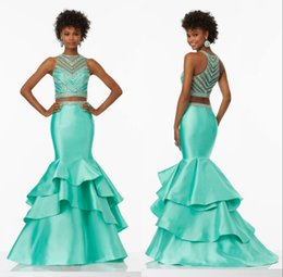 Wholesale Mint Mermaid - New Design Satin Mint Green Prom Dresses Mermaid Two Pieces Tiered Beaded Sweep Train 2017 Prom Formal Party Dresses