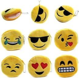 Wholesale Korean Wholesale Christmas Gift Bags - 100PCS Hot cartoon smile coin bag QQ Expression Coin Purses Cute Emoji Coin Bags Plush Pendant Womens Girls Creative Chirstmas Gifts T59