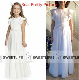 Wholesale Chiffon Round Flower - 2016 Chiffon Real Pictures Flower Girls' Dresses Round Neck Short Sleeves Floor Length Girls Birthday Daily Pageant 1st Communion Dresses