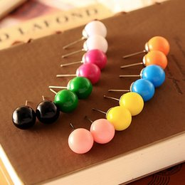 Wholesale Color Ball Earring Studs - Fashion Cute Little Candy Color 8mm Imitation Pearl Stud Earrings Ball For Women Wedding Cheap Jewelry Accessories