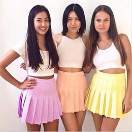 Wholesale Women Mini White Skirt - Sexy American Skirt AA Style Candy Colors Street High Waist Mini Short Tennis Pleated Skirt Ruffled Button Korea Women Mini Skirt SV019491