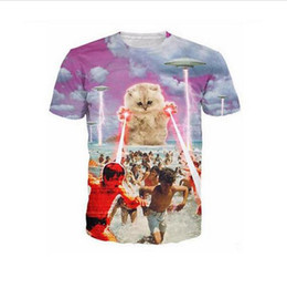 Wholesale Men Swimming Shirt - YNM Kitten laser Cats 3D printed tees lightning beach swim graphic T-shirt space galaxy t shirt men women tops clothing brand