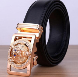 Wholesale Golden Strap - 2016 Hot New Brand Designer Belts Men High Quality Men Leather Girdle Casual Waist Strap With Wolf Heah Buckle Automatic Belt