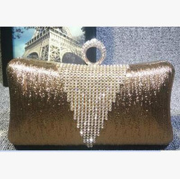 Wholesale Ring Pillow Gold - 2017 European fashion handbag diamond Wristlet clutch evening bag type ring banquet evening dress free shipping