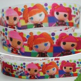 """Wholesale Grosgrain Ribbon Lalaloopsy - 7 8"""" 22mm Cartoon Colorful Dots Plaids Lalaloopsy Printed Grosgrain Ribbon Bows Diy Material Craft Deco Sewing 50 100Y A2-22-134"""