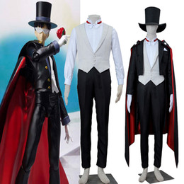 Wholesale Sailor S Hat - Original Sailor Moon Tuxedo Mask Chiba Mamoru Cosplay Costume High Quality Full Suit with Hat Halloween
