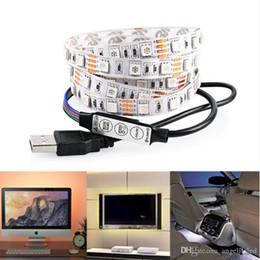 Wholesale Desktop Led Screens - Lighting for HDTV - USB LED Backlight Strip RGB Bright 5V LED Neon Accent Lighting System for Flat Screen TV LCD Desktop Monitors
