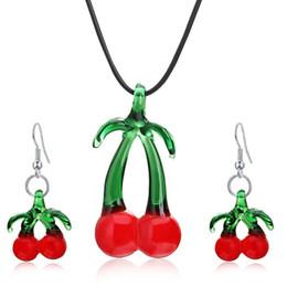 Wholesale Lampwork Glass Pendant Earring Sets - 2017 New Cherry Lampwork Pendant Blown Venetian Murano Glass Pendants Necklaces And Earrings Sets Women Fashion Jewelry