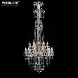 Wholesale Hotel Galaxy - Galaxy Long Crystal Chandelier Light Fixture 18 lights Clear Large Hotel Crystal Light Lustres Prompt Shipping MD2456