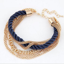 Wholesale Korean Women Beaded Bracelets - Korean Popular Low key Luxurious Metal Chain Braided rope Multilayer bracelet Anklets for women 6 Colors free shipping