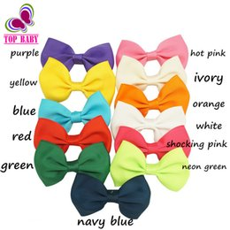 """Wholesale Small Grosgrain Hair Bows - 3"""" Baby Small Hair Bow 12 Colors Barrettes Grosgrain Ribbon Hair Bows With Clip For Toddler Girls Hair Accessories 5pcs lot"""
