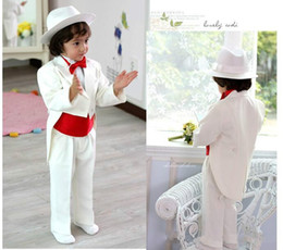 Wholesale Ivory Wedding Tuxedos For Boys - High Quality 2018 Back Slit White boys tuxedo wedding suits for boys suit boys ring bearer Custom Made (Jacket+Pants+Tie+Vest)
