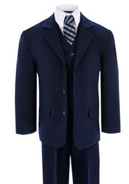 Wholesale Occasion Suit Dress For Boys - Boys suits for wedding formal occasion boy suits blue classic boy suits boys flower girl dress suits fashion boy suits(jacket+pants+vest)