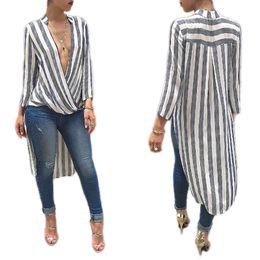 Wholesale Deep V Neck Tops Women - Elegant 2016 Autumn Deep V Striped Casual Casual Tops Long Sleeve Women Clothing Office Irregular Tops A89