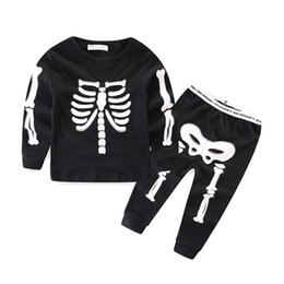 Wholesale Baby Boys Clothes Skulls - 2017 Halloween Costume Children Luminous Outfits Long Sleeve Autumn Kids suits Baby Girl Boy Clothes set Skull Skeleton Playsuit LX3941