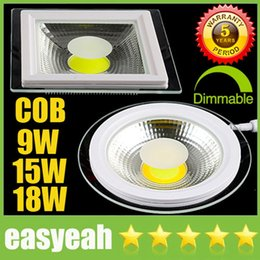 Wholesale Downlight Ceiling Fixture - Round  square 9W 15W 18W COB LED Panel Lights CRI>88 Downlight 110-240V Fixture Recessed Ceiling Down Lights Lamps Warm Cool Natural White