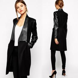 Wholesale Elegant Winter Coats For Women - Fashion Black Woolen Faux Leather Trench Coat For Women Slim Long Sleeve Lapel Long Blazer Jacket Elegant Ladies Winter Formal Coats