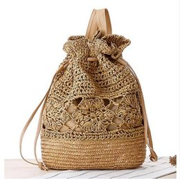 Wholesale Crochet Tote Bag Patterns - 2016 Drawstring Crochet Straw beach bags Floral Pattern handmade Straw Beach Summer Women Double Shoulder Bags
