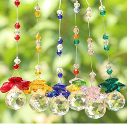 Wholesale Hanging Crystal Pendant - 5PCS K9 Crystal Glass Ball Suncatcher Feng Shui Prisms Pendant Pendulum Hanging Decor Window Ornament 20mm
