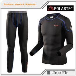 Wholesale Outdoor Thermal Underwear - Wholesale-2016 New Polartec Brand Thermal Underwear Men Winter Warm Thermal Underwear Long Johns Stretch Thermal Windproof Leisure Outdoor